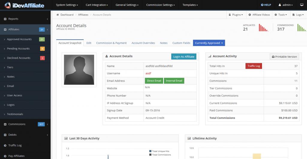 idevaffiliate account details