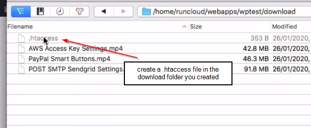 making htaccess in download folder for FastFlow Content Protection