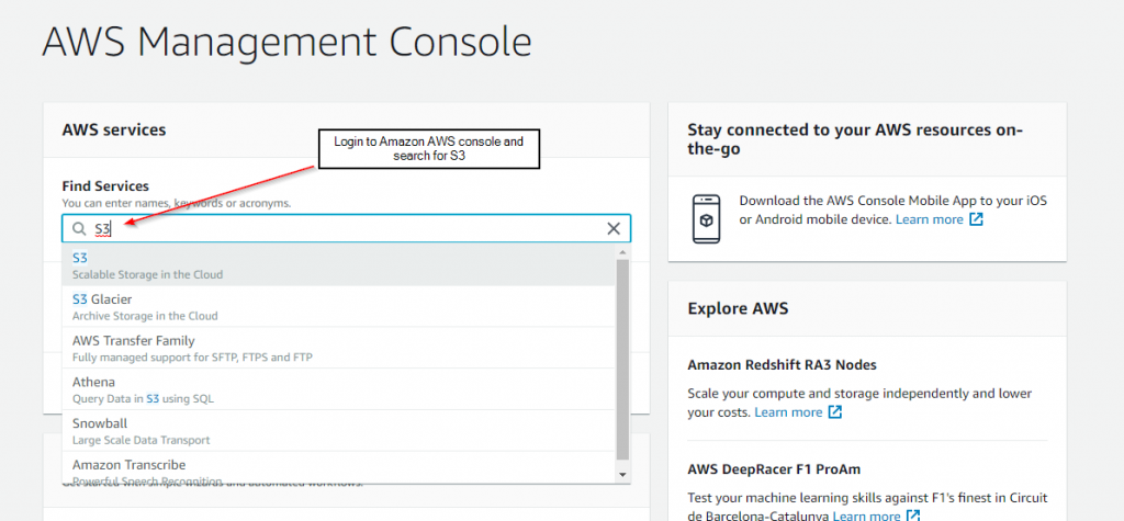 Login to amazon aws S3 fastmember Fastflow
