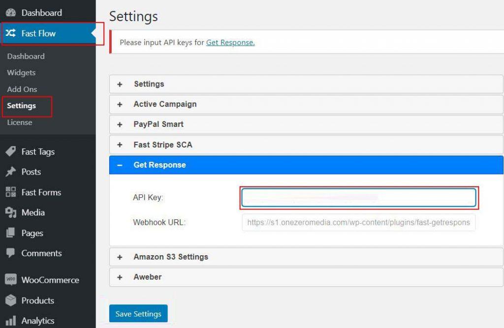 2 FastFlow GetResponse API Key blank