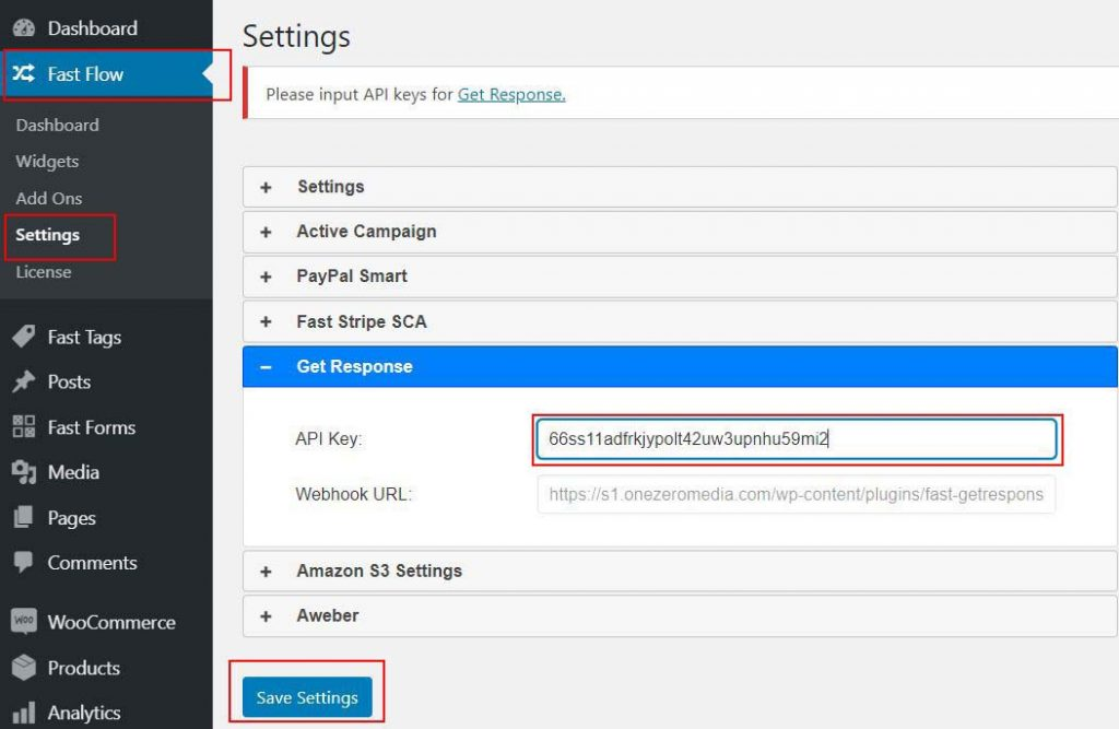 2 FastFlow GetResponse API Key